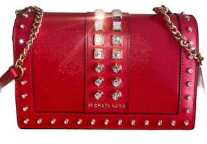 Michael Kors Jet Set Full Flap Red Leather Chain Crossbody Bag w/ Rhinestones