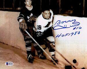 "BECKETT-BAS BOBBY HULL ""HOF 1983"" AUTOGRAPHED-SIGNED BLACKHAWKS 8x10 PHOTO 61793"