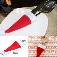 10PCS Christmas Hat Silverware Holder Xmas Mini Red Santa Claus Cutlery Bag a