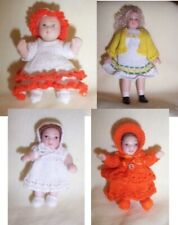 DOLLS HOUSE  DOLLS 1:12 SCALE IN HAND KNITTED  OUTFIT TO CHOOSE FROM
