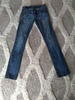 Womens Antique Rivet Straight Leg Jeans