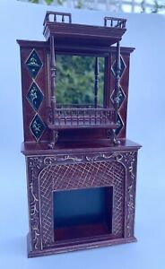 1/12 Scale dolls house Jiayi Handpainted Mahogany Fire Surround With Mirror