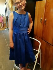 Davids bridal junior bridesmaid bright blue sleeveless knee len sz 12 style 3737