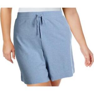 Karen Scott Womens Drawstring Knit Shorts LT Blue Heather Plus Size 2X NWT