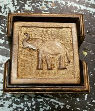 Wooden Coasters Set of 6 with Elephant Carving