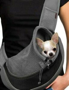 Cuby Pet Breathable Gray Black Small 5 Lb Dog Cat Sling Carrier New! Free Ship!