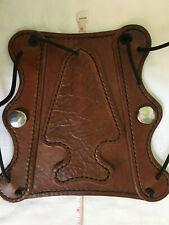 "ARCHERY Arm GUARD Brown ARROWHEAD Imprint HANDMADE Leather 7"" x 7.75""  Hunting"