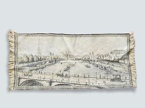 "Vtg Antique 1900s Woven Tapestry Table Runner Paris Eiffel Tower River 36"" X 17"""