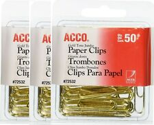 Acco Paper Clips Gold Tone Paper Clips Jumbo Smooth Gold 3 Pack 150 Count