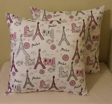 Set of 2 white pink silver glitter Paris Eiffel Tower pillow covers sham 14 x 14