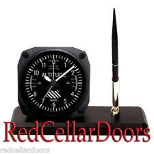 New TRINTEC Altimeter Altitude Desk Pen Set w Alarm Clock Aviator Style Pilot