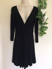 BLACK LONG SLEEVE DEEP V WRAP EFFECT DRESS WITH STRETCH SIZE UK10 GOOD CONDITION