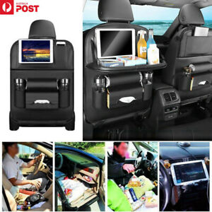 1X PU Leather Car Seat Back Organiser Storage Bag Foldable Table Tray Cup Holder