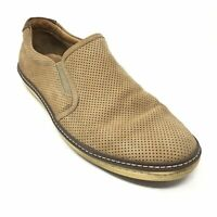 Men's Johnston & Murphy Loafers Shoes Size 9.5M Brown Leather Side Stretch U4