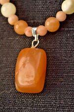 Orange and Cream Delicate Pendant Stone Necklace, 18 to 22 inches,