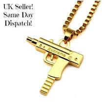 Supreme UZI Machine Gun Pistola Collana Grande Ciondolo Catena Gold UK Venditore