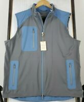 NEW PETER MILLAR Small Calgary Vest Mens Full Zip Gray Wind Stretch Golf $165