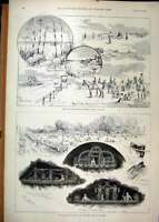 Original Old Antique Print 1893 Hampton Court Dittons Aquatic Sports Cannington