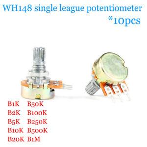 10pcs WH148 Single way potentiometer B1K/2K/5K/10K/50K/500K/1M Handle 15MM