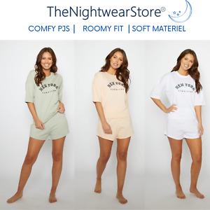 LADIES NIGHTWEAR TOP AND SHORT SET PJ SET WOMEN'S SOFT T SHIRT SHORTS SET PJS