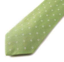 New $225 BORRELLI NAPOLI 7-Fold Spring Green Woven Floral Silk Tie