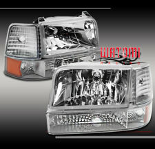 92-96 FORD BRONCO F150 F250 F350 CHROME CRYSTAL HEAD LIGHTS+BUMPER+CORNER SIGNAL