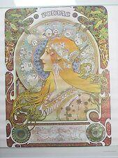 Vintage 1968 Mucha ZODIAC Astrology Horoscope Poster Sandyval Graphics RARE NOS