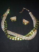 Rare Signed Schoffel Austrian Rhinestone Necklace Earring Set Vintage 1950's