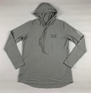 VINEYARD VINES Mens M Grey Edgartown Hooded Long Sleeve T Shirt