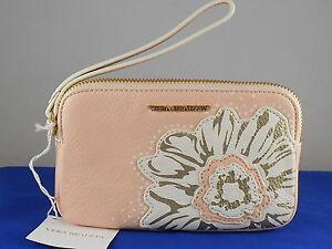 Vera Bradley Blush Pink Genuine Leather LA FLEUR SOPHIE Wristlet 14645-229 $108