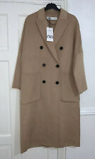 ZARA LIGHT CAMEL WOOL BLEND OVERSIZED DOUBLE BREAST COAT WITH PATCH POCKETS S