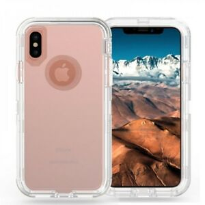 For Apple iPhone X Clear Tansparent Defender Case w/Screen&Clip Fits Otterbox