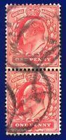 1902 SG219 1d Scarlet M5(1) Pair Fair Used assw