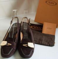 TODS Designer Brown Slingback Pumps Heels Court Shoe Size EU 40 UK 7 US 10