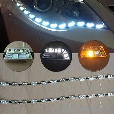 2x Tear Eye Headlight Flexible LED Strip DRL Light White Turn Signal Lamp Amber