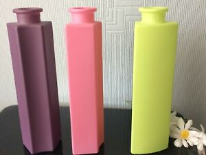 IKEA Frosted Bottle Glass Vase Set Of 3 Pink /Purple /Green Décor Home Pot