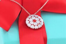 Tiffany & Co Silver Red Enamel Picasso Crown of Hearts Love Charm Necklace BOXED