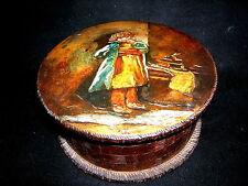 Birkenholz Dose Russland um 1900 Jugendstil Brandmalerei Mädchen Pokerwork