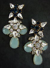 "NEW J. CREW BLUE GROTTO EARRINGS CZECH CRYSTAL BLUE AQUA 2.5""L"