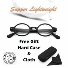 Vintage Round Reading Glasses Spring Hinges Men Women +1.0 3.5 FREE Hard Case