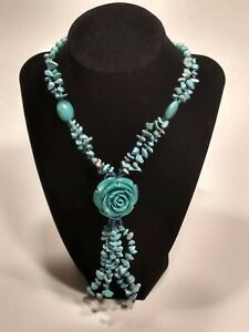 """Vintage Hand Carved Turquoise Rose & Turquoise Nugget 30"""" Necklace"""