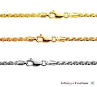 14k Gold Over 925 Sterling Silver Italian ROPE CHAIN Diamond Cut  necklace 2.0mm