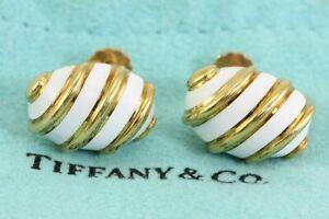 Rare! Tiffany & Co Jean Schlumberger White Enamel 18k Yellow Gold Earrings 10.2g