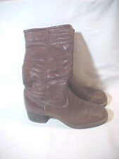 Vintage Men's Space age Leather tall Boots size 9 D Made Usa Honest wear