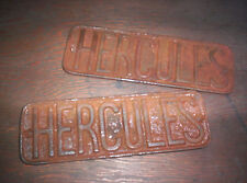 Nice Pair Of Hercules Hit & Miss Gas Engine Cart Name Plate Cast Iron Sign COOL