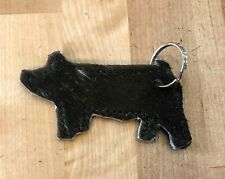 Leather Stock Show Pig Key Ring Hair on Hide Leather