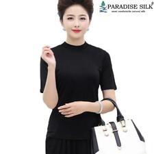 100% Silk Knit Womens Half Sleeve Shirt Mock Turtleneck Slim Fit T Shirt