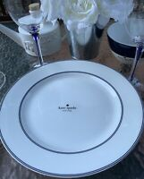 """Kate Spade New York Rutherford White with Navy Blue Trim  11 1/4"""" Dinner Plates"""