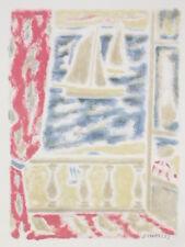 JULES CAVAILLES Fenetre Ouverte sur deux Voiliers Lithographie GRAVURE ca 1960