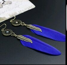 *UK Seller* Vintage  hollow wheel and blue feather drop earrings